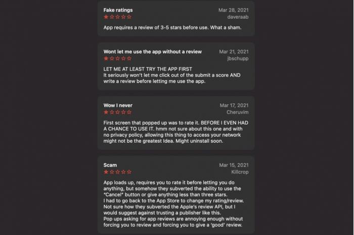 AppleStore发现诈骗应用用户不给出好评就拒绝运行
