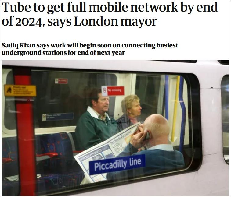 伦敦地铁2024年全面覆盖4G信号英网友上海十年前就有了